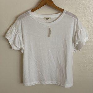 NWT Madewell Ruffle Sleeve T-Shirt